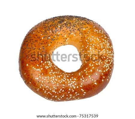 bagel on white - stock photo