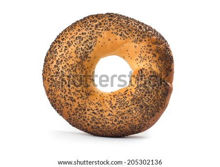 Bagel with poppy seeds isolated on white background - stock photo