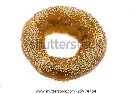 Bagel with sesame isolated on a white background