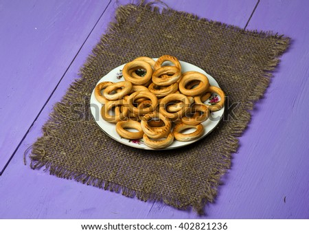 bagels on a wooden table. Rustic style. - stock photo