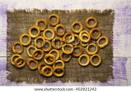 bagels on a wooden table. Rustic style. Top view.   - stock photo