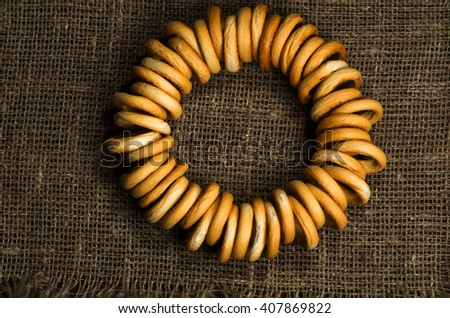 bagels on a wooden table. Rustic style.Top view.  - stock photo