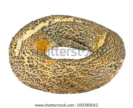 bagels with poppy seeds isolated on white background with clipping path.