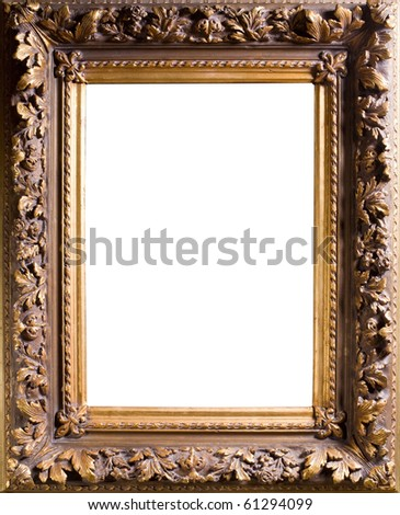 Baget old frame isolated on white