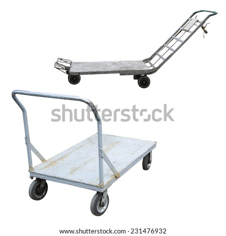 baggage trolleys under the white background - stock photo