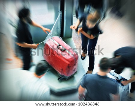 Baggage wrapping - stock photo