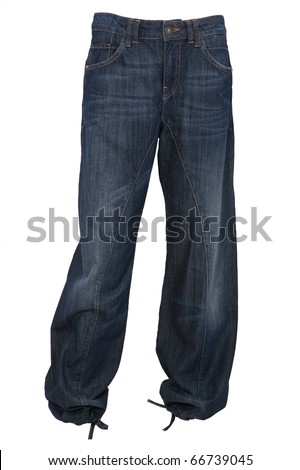 Baggy jeans trousers isolated on white