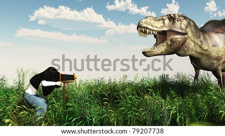 Baggy pants photographer with a old fashion view camera, his head under the dark cloth photographs a tyrannosaurus rex outdoors before a bright blue sky with puffy clouds. Illustration - stock photo