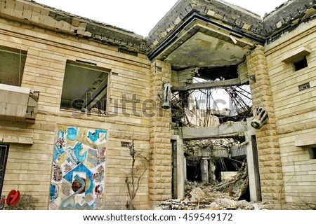BAGHDAD, IRAQ - CIRCA 2007: Bombed out palace, destroyed during the initial US invasion, on a Baath Party compound