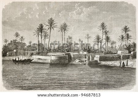 Baghdad surroundings along Tigris river. Created by De Bar after photo of unknown author, published on Le Tour du Monde, Paris, 1867 - stock photo