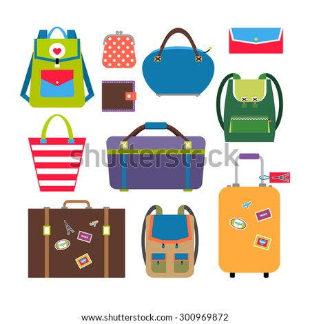 Bags and luggage flat icons set. Baggage and travel, briefcase and case