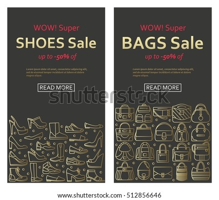 Bags and shoes sale banners made of outlined icons
