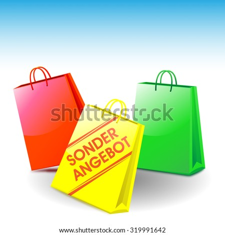 """Bags. Bag with the label """"SONDERANGEBOT"""". in english """"special offer"""" - stock photo"""