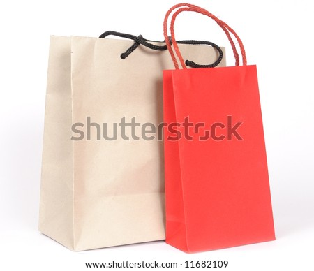 Bags for purchases on a white background. - stock photo