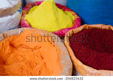 Bags full of various spices on a market stall, Chichicastenango, Guatemala, Central America - stock photo