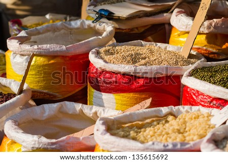 Bags of spicies on Sri Lanka's market - stock photo