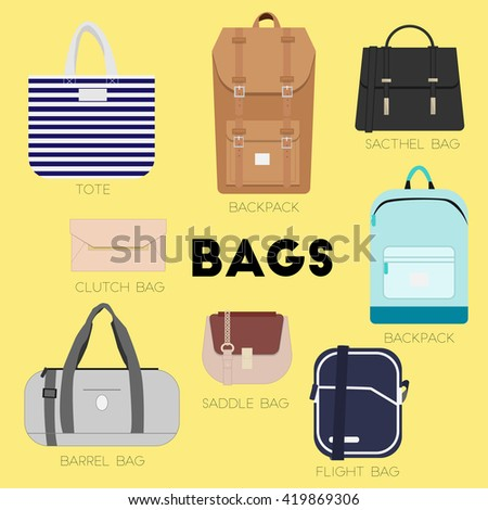 Bags set. Different kinds of bags and purses. Minimal flat illustration for print or web. Luggage, cases and backpacks.
