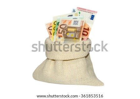 bags with euro isolated on white background - stock photo