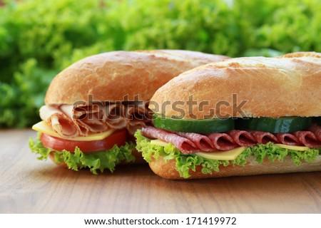 Baguettes belegt mit Salami und Schinken - stock photo