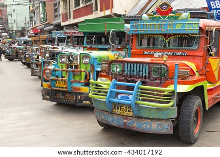 Baguio, Philippines - June 3, 2016: Jeepney station