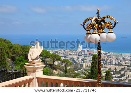 Bahai gardens at Carmel Mountain and view of the Mediterranean Sea, Haifa bay and city harbor, Israel    - stock photo