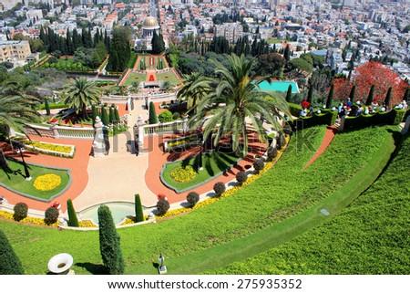 Bahai Gardens - Haifa - Israel - stock photo