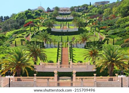 Bahai gardens of the Carmel Mountain. Haifa, Mediterranean, Israel  - stock photo