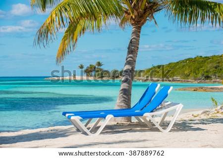 Bahamas Coco Cay Caribbean Island luxury beach oasis - stock photo