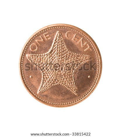 Bahamas coin with starfish, isolated, clipping path. - stock photo