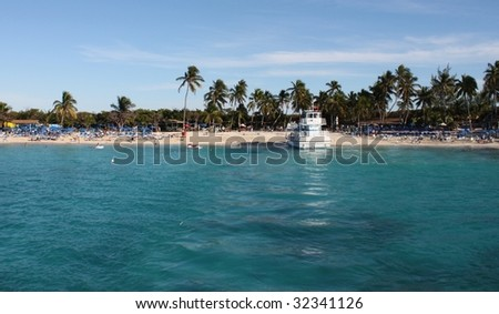 Bahamian bay from the sea - stock photo