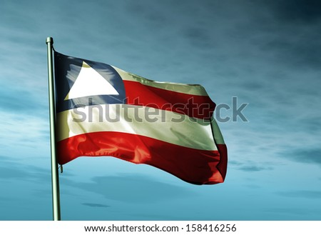 Bahia (Brazil) flag waving in the evening - stock photo