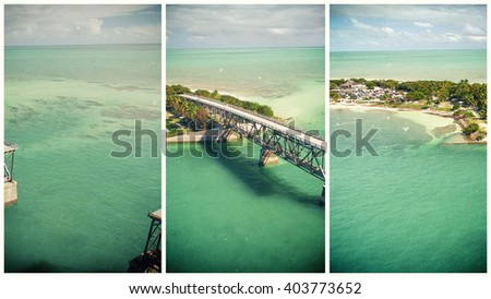 Bahia Honda state park aerial view, Florida. Frames pictures - stock photo