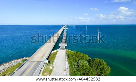Bahia Honda State Park, old and new bridge, aerial view. - stock photo