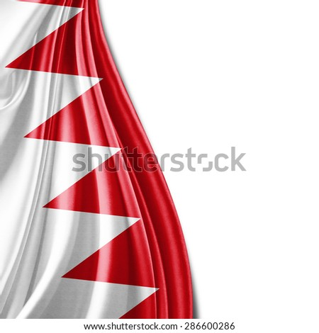 Bahrain flag of silk and white background