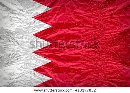 Bahrain flag pattern overlay on floyd of candy shell, vintage border style - stock photo