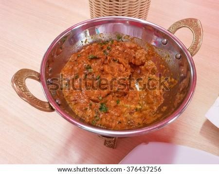 Baingan Ka Bharta Baingan bharta or Baingan ka bhurtha or Baingan da bhurtha or Wangyacha Bharit - Indian-Punjabi Style vegetarian aubergine dish - stock photo