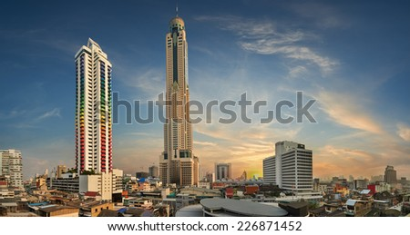 Baiyoke Tower  is an 85-storey, 304 m (997 ft) skyscraper hotel at 222 Ratchaprarop Road in the Ratchathewi district of Bangkok, Thailand. - stock photo