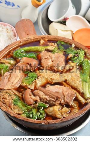 Bak kut teh - Malaysian stew of pork and herbal soup - stock photo