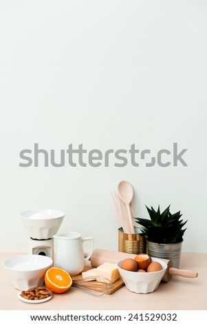 Bake ingredients with copy space - stock photo
