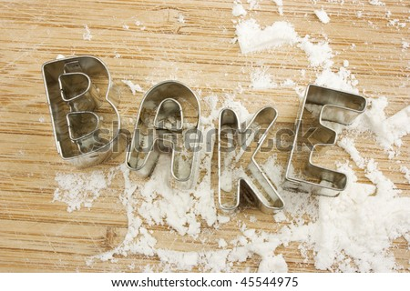 Bake written with cookie cutters