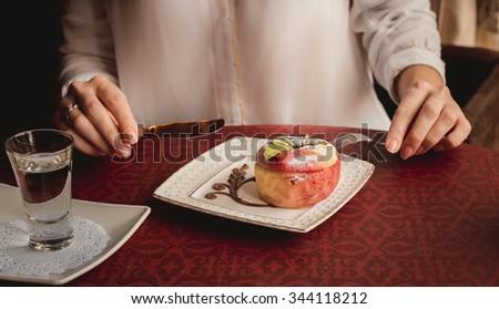 Baked apple serve - stock photo