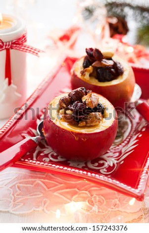 Baked apples stuffed with nuts and dried fruits