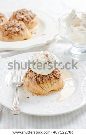 baked apples to crumble oatmeal and ice cream - stock photo