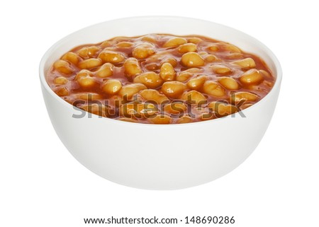 Baked Beans in a white china bowl, front to back focus, clipping path. - stock photo