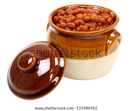Baked Beans In Pot Isolated On White Background - stock photo