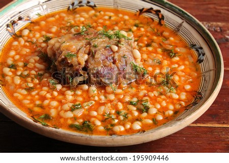 Baked beans with pork - stock photo