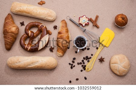baked bread, coffee on top