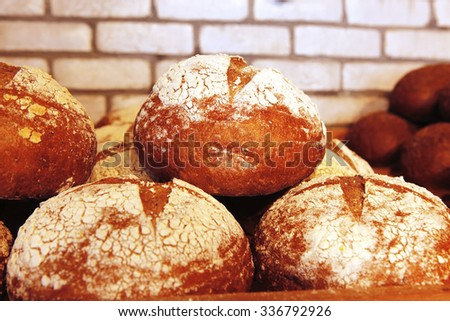 baked buns on market - stock photo