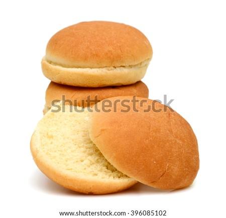 baked buns on white background  - stock photo