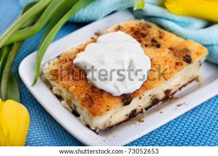 Baked cheesecake with raisins, sour cream and cinnamon - stock photo